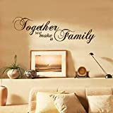 """YESURPRISE Unremovable Black Vinyl English Letter Quote """"Together We make a Family"""" Wall Stickers Bedroom Living Room Decals DIY Home Decor Door Window Art"""