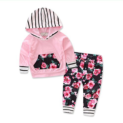Samgami Baby Baby Girls Boy Cotton Pants Suit Kids Clothes Motion Pink Hoodies Clothing Set (Tag70/0-6M, Pink)