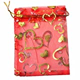 100pcs Organza Wedding Party Gift Bags Heart Pattern Sheer Drawstring Pouches Jewelry Gift Bags Christmas Party Gift Favor Bags (red, 6''x9'')