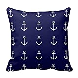 Soft Cushion Cover for Sofa Anchor Navy Blue White Nautical Pillow Case Standard Size Pillow Sham Picture