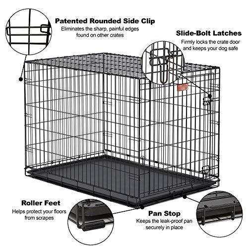 Large Dog Crate | MidWest ICrate Folding Metal Dog Crate | Divider Panel, Floor Protecting Feet Large Dog