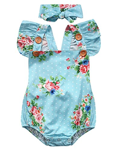 Flowers Buttons Backless Bodysuit Headband product image