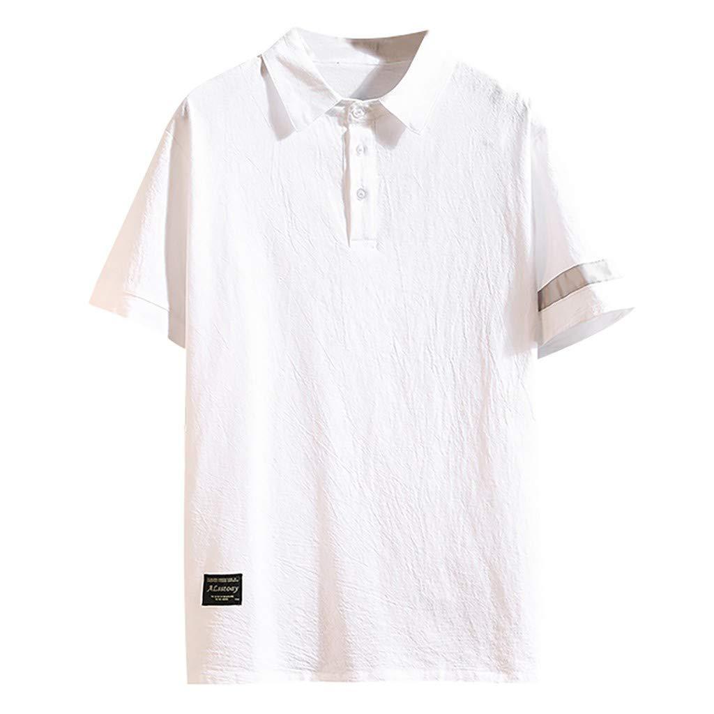 FarJing Mens T-Shirts Summer Casual Patchwork Lapel Loose Cotton Linen Short Sleeve T-Shirts Tops