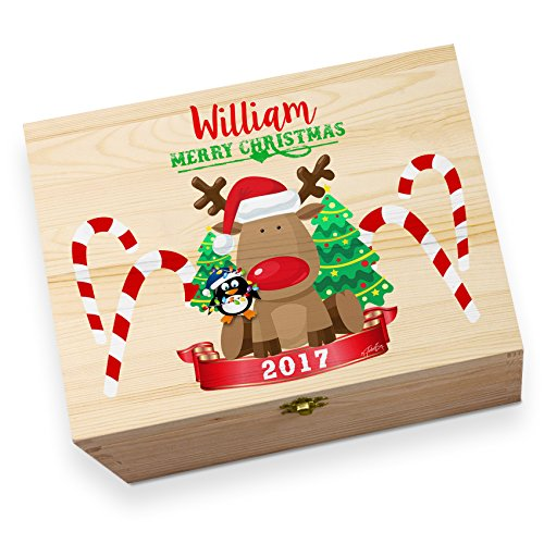 Personalised Merry Christmas Rudolph Penguin Large Rustic Printed Christmas Eve Box (Penguin Rudolph)