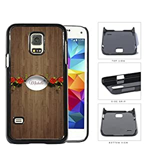 CUSTOM NAME Brown Wood Pattern with Red Roses White Oval Banner Samsung Galaxy S5 (MINI) SM-G800H Hard Snap on Plastic Cell Phone Case Cover