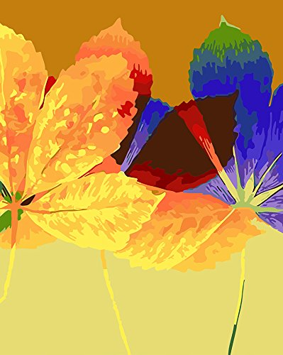 Version 3.0 HD Paint By Number Kits for Adults PBN Kit Paintworks Digital Diy Oil Painting Canvas Kits for Children Kids Beginner White Christmas Decorations Gifts - Tricolor Maple Leaf (N1, No Frame)
