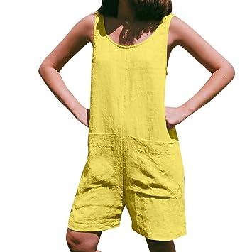 Monos Cortos de Lino para Mujer SUNNSEAN Pantalones Cortos ...
