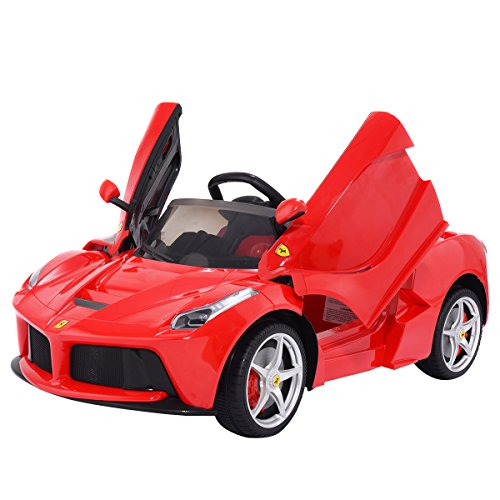 Tangkula Kids Ferrari 12V Electric Ride On Toy Car with Remote Control Red