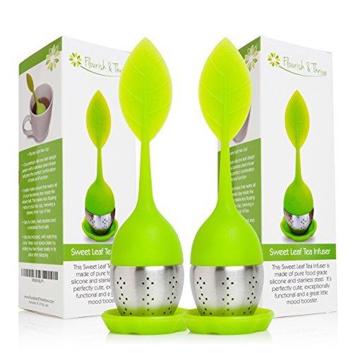 Loose Leaf Herbal Tea Infuser, Strainer Scoop 2-pack, multipack, gourmet gift set - 2 Green by Flourish & Thrive