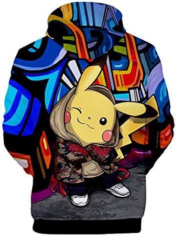 YUANOU 2018 Nouvelles Bandes Dessin/ées Impression 3D Pikachu L/âche Hommes Et Femmes Sweats /à Capuche Hoodies
