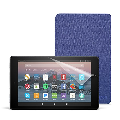Fire HD 8 Essentials Bundle with Fire HD 8 Tablet (32 GB, Black), Amazon Cover (Cobalt Purple) and Screen Protector (Clear)
