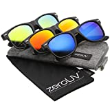 zeroUV - Matte Finish Color Mirror Lens Large Square Horn Rimmed Sunglasses 55mm (3-Pack | Ice/Fire/Sun)