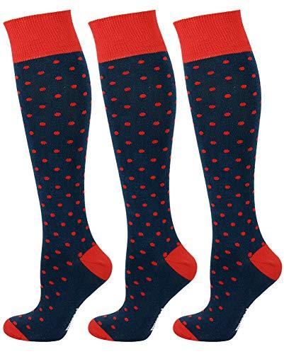 Mysocks 3 Pairs Unisex Knee High Polka Dot Socks Navy Red Dot 8-11