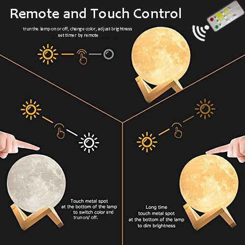 ACED 3D Printing 4.7Inch Moon Light Lamp Baby Night Light, Dimmable Color Changing, Touch Battery Operated LED Moonlight Lamps for Bedrooms, Father's Day Gifts, Cool Christmas Gifts for Kid Teens