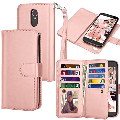 Tekcoo for LG Stylo 3 Wallet Case/LG Stylo 3 Plus/LG Stylus 3 PU Leather Case, Luxury ID Credit Card Slots Holder Carrying Flip Folio Cover [Detachable Magnetic Hard Case] -Rose Gold