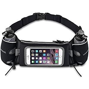 uFashion3C Hydration Running Belt Waist Pack Pouch with Two BPA Free Water Bottles for iPhone 7, 6S, 6, Plus, Galaxy J7, S7, S6, S5, Edge, Note 5, 4, 3 with OtterBox/ LifeProof Waterproof Case (Black)