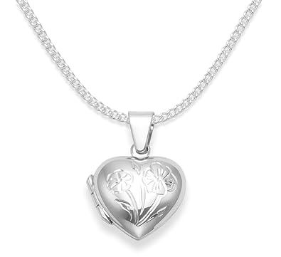 43b43371536e 925 de plata de ley medallón con forma de corazón para niños Collar con  colgante en ...