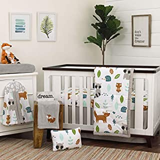 NoJo Dreamer Little Woodland Friends 8 Piece Nursery Crib Bedding Set, Grey/Tan/Aqua/White