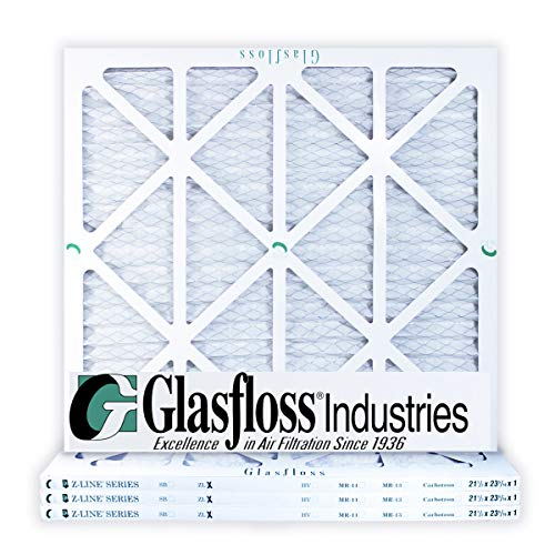 Pleated Air Filter Case - Glasfloss 21-1/2 x 23-5/16 x 1 MERV 10 Air Filters, Pleated, Made in USA (Case of 4) Fits Listed Models of Carrier, Bryant & Payne, Removes Dust, Pollen & Many Other Allergens.