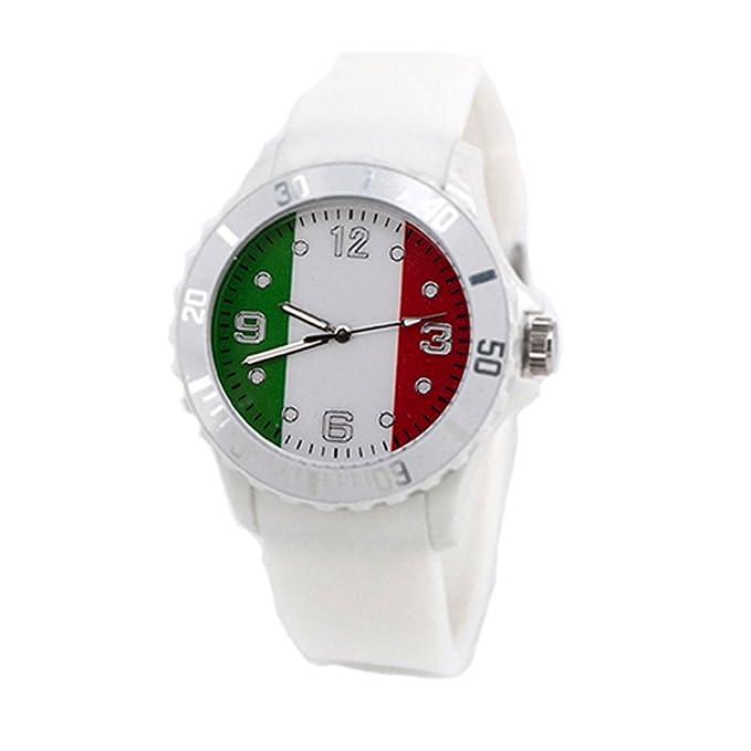 Reloj con la bandera de Italia con pulsera de Silicona