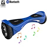 """Self Balancing Scooter (MAX 264 lbs), Skque 8"""" X1L8 UL2272 Smart Two Wheel Self Balancing Electric Scooter with Bluetooth Speaker and LED Lights, Blue"""