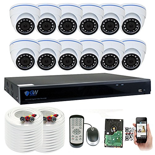 GW 16 Channel 5 Megapixel Video Day Night Security Surveillance System, 12 Weatherproof HD 5MP (2.5X 1080P) Dome Cameras, Motion Detection/Smart Search/Email Alert