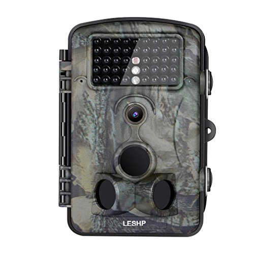 Hunting Trail Game Camera, LESHP Wildlife Video Security Camera 12MP 1080P HD 120 Degree Wide Angle Infrared Night Vision 42pcs IR LEDS 2.4 Inch LCD Screen Camera - Locking Display Sunglass Case
