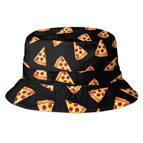 Fringoo Herren Fischerhut Mehrfarbig Pizza Black