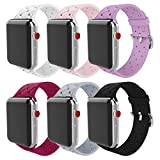 MITERV Compatible with Apple Watch Band 38mm 40mm 42mm 44mm Soft Silicone Replacement Band for Apple Watch Series 4 Series 3 Series 2 Series 1 6 Pack Bands for 38mm/40mm Apple Watch