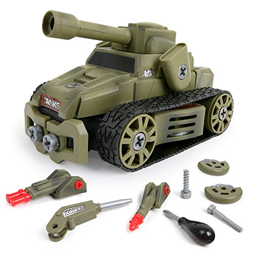 10-in-1 DIY Take Apart Military Vehicles Army Tank Car Toys for 3 4 5 6 7 8 Year Old Boys Girls, STEM Learning Toys Building Play Set for Kids Children