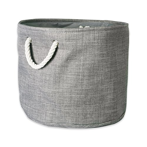 "DII Collapsible Variegated Polyester Storage Basket or Bin with Durable Cotton Handles, Home Organizer Solution for Office, Bedroom, Closet, Toys, & Laundry (Large Round – 16x15""), Gray (Bed Fabric Room Living)"