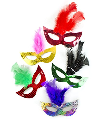 Fun Central AT769, 6 Pcs, Assorted Prismatic Feather Masks, Masquerade Ball Masks, Mardi Gras Carnival Masks, Halloween Party Favors, Kids Costume Party Accessory Decoration