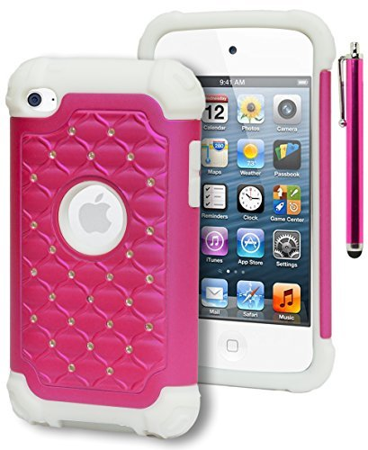 iPod Touch 4 Case, Bastex Heavy Duty Hybrid Soft White Silicone Cover Hot Pink Bling Diamond Crystal Case for Apple iPod Touch 4INCLUDES STYLUS (Ipod Touch 4 Bling Case)