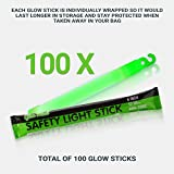"100 Industrial Grade Glow Sticks, 6"" Ultra Bright"