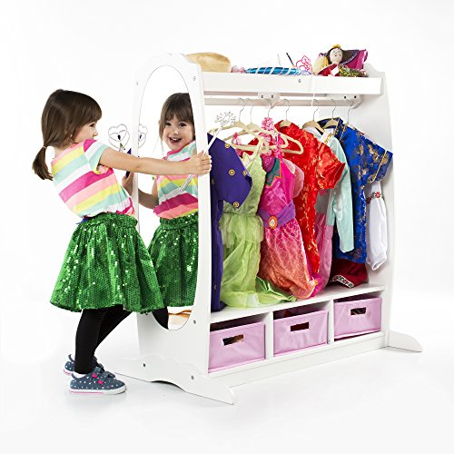 Guidecraft Dress Up Storage - White: Dramatic Play Costume Rack with Mirror and Tray for Toddlers - Kids Armoire, Dresser with Fabric Storage Bins -