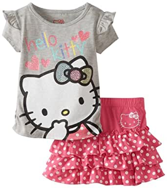 Hello Kitty Little Girls' Sugar Glitter Skirt Set, Carmine Rose, 4
