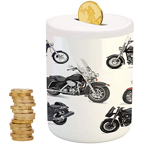 - Motorcycle,Ceramic Girl Bank,Top Slot Porcelain Nursery Décor Baby Bank,Unique Original Motorcycles Set Freestyle Action Life with Winged Wheels Hobby Print