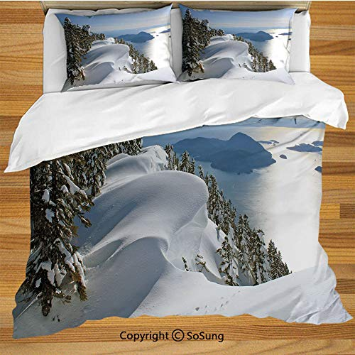 Winter Queen Size Bedding Duvet Cover Set,Pacific Ocean Meets The Mountains Vancouver British Columbia Canada Wilderness Scenery Decorative Decorative 3 Piece Bedding Set with 2 Pillow Shams, ()