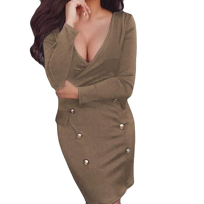 Logobeing Vestido Sexy con Escote En V Profundo de Las Mujeres Vestido Largo de Fiesta de Noche Sólido con Manga Larga Blusas Mujer: Amazon.es: Ropa y ...