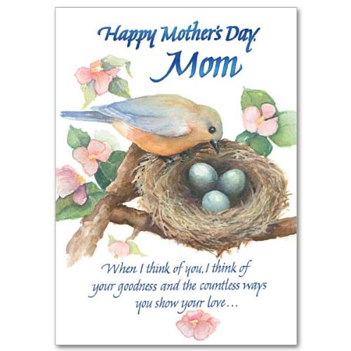 Mother's Day Deluxe Religious Greeting Card w/Robin at Nest, Mom's Prayer HC w/Embossed Envelope & Free Cross Bookmark