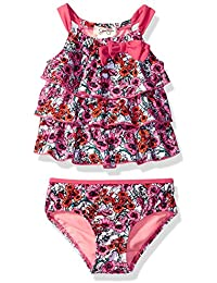 Fancy Jessica Simpson Jessica Simpson Girls' Ditsy Floral Ruffle Flounce Bow Two Piece Swimsuit Set