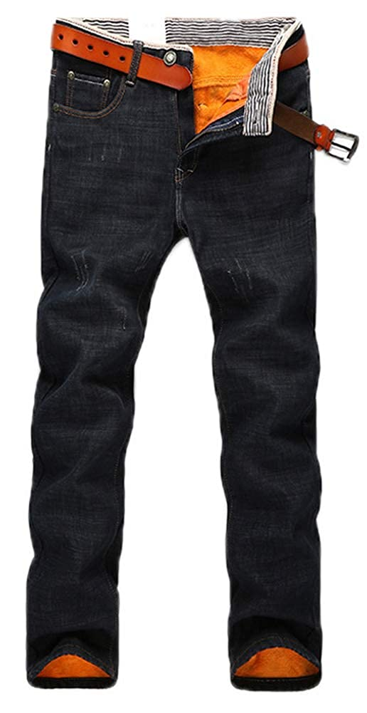 15eb46be Online Cheap wholesale AACFCHAIN Mens Winter Fleece Lined Stretch Jeans  Skinny Denim Pants Casual Trousers Jeans Suppliers