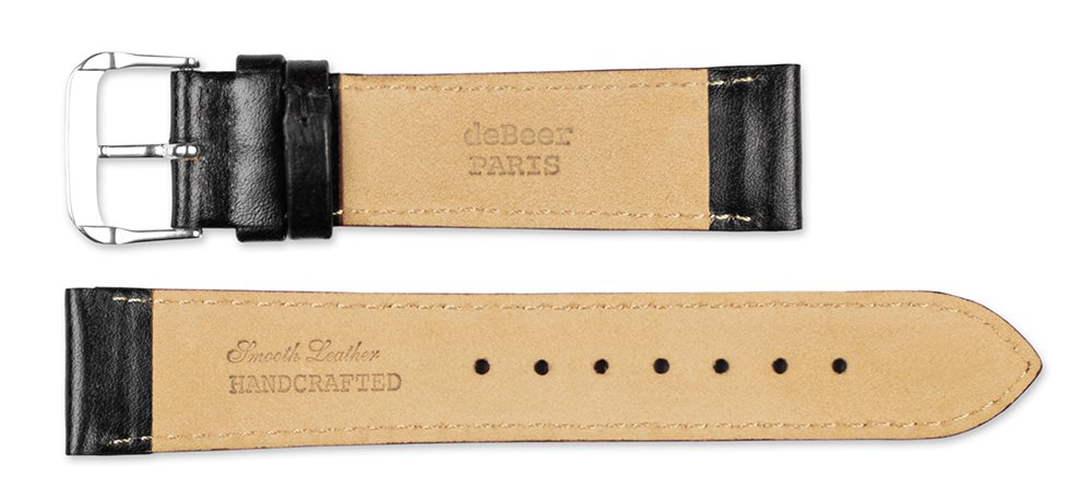 Smooth Leather Watchband Black 12mm Short Watch band - by deBeer by deBeer (Image #4)