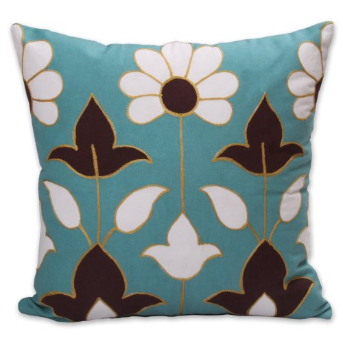 Jovi Home Tiffany 100-Percent Cotton Shell Embroidered and Printed Decorative Pillow, 18 by 18-Inch, Teal