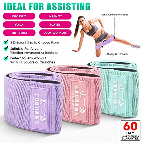 6e4d70989f12c COOBONS Resistance Exercise Bands for Legs and Butt, Hip Bands Booty Bands  Wide Workout Bands Resistance Loop Bands Anti Slip Circle Fitness Band ...