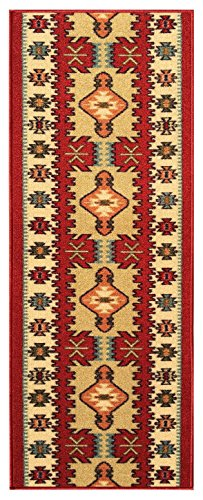 Kapaqua Custom Size RED Turkish Kilim Rubber Backed Non-Slip Hallway Stair Runner Rug Carpet 22 inch Wide Choose Your Length 22in X 12ft -