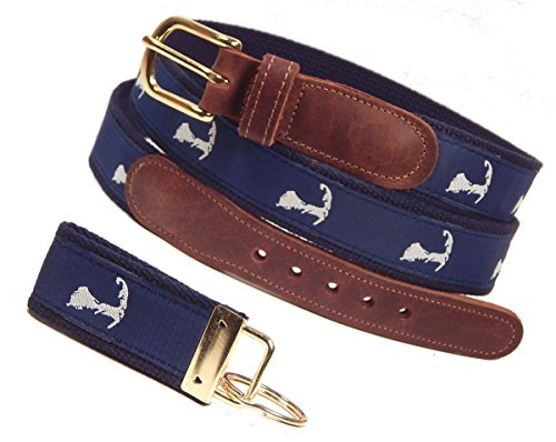 (Preston Leather Map of Cape Cod Belt, Navy (w/ Navy Web), Sizes 30 to 50, FREE Matching Key Ring (Size 36))