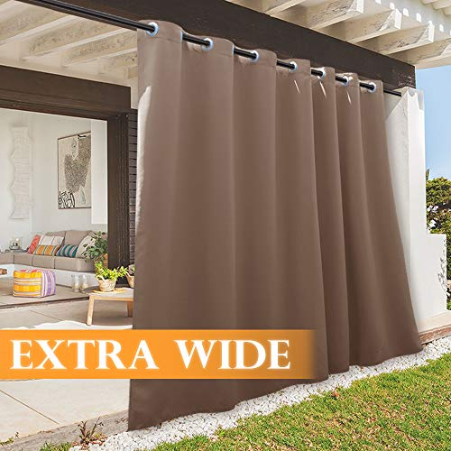 RYB HOME Outdoor Curtain - Sun Blocking Curtains Portable Contemporary Vertical Blind Room Darkening Shade for Garage Window/Patio Door/Pergola, 100 x 84, 1 Panel, Mocha (Roll Sun Shades Down Patio)