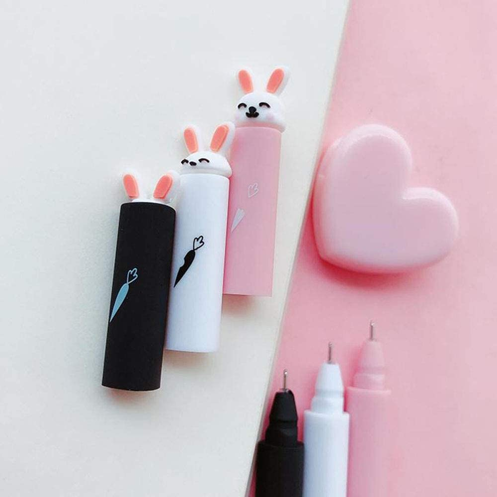 CHDHALTD 3Pcs//Set Gel Pen Colorful Rabbit Design 0.5mm Gel Pens Black Ink Pens for Writing Cute Stationery Office School Supplies