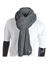 FORBUSITE Stylish Gray Cable Pattern Knitted Long Scarf 82 by 18 Inch